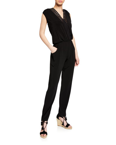 Ajourage Short-Sleeve V-Neck Jumpsuit