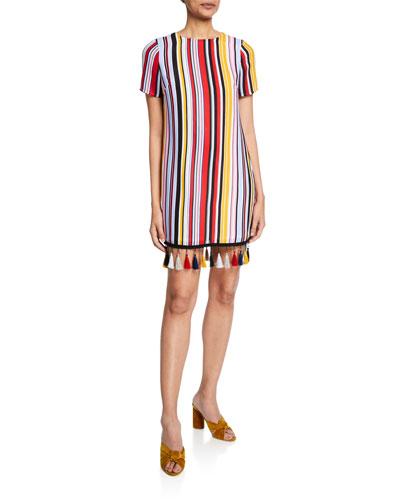 Striped Crewneck T-Shirt Dress w/ Tassel Hem
