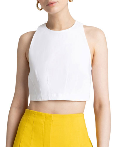Alva Sleeveless Linen Crop Top