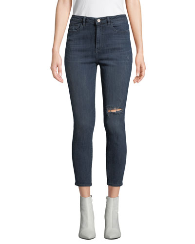 Chrissy High-Rise Ankle Skinny with Distressing