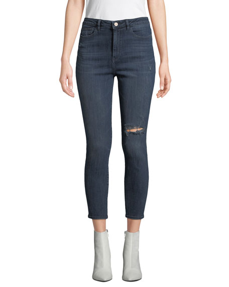 DL PREMIUM DENIM Chrissy High-Rise Ankle Skinny With Distressing in Saxton