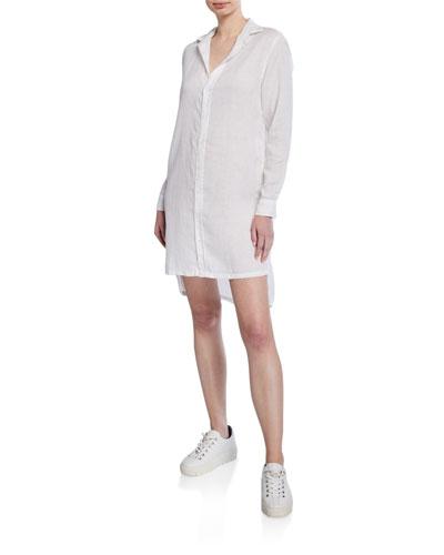 Hunter Button-Down Long-Sleeve Woven Cotton Shirtdress