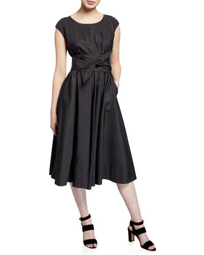 Cap-Sleeve Full Skirt Dress w/ Self Belt