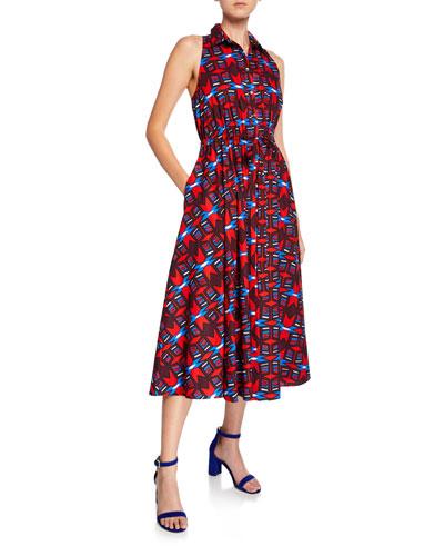 Halter-Neck Button-Front Geometric-Print Dress w/ Pockets