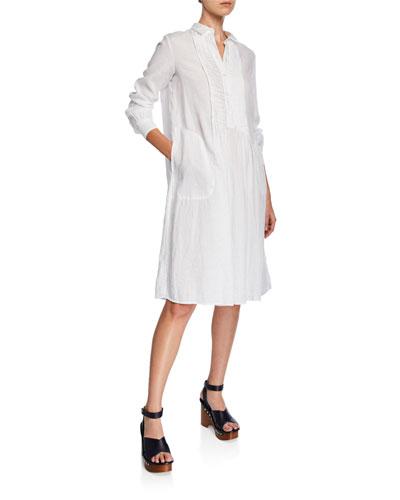 Button-Front Long-Sleeve Linen Shirtdress w/ Pintuck Front