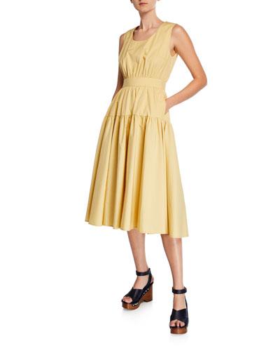 Scoop-Neck Sleeveless Tiered Cotton-Poplin Dress