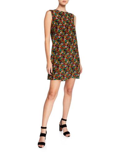 Crewneck Sleeveless Printed Silk Mini Dress