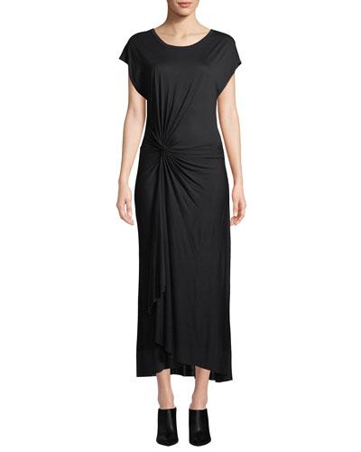 Emile Short-Sleeve Ruched Maxi Dress