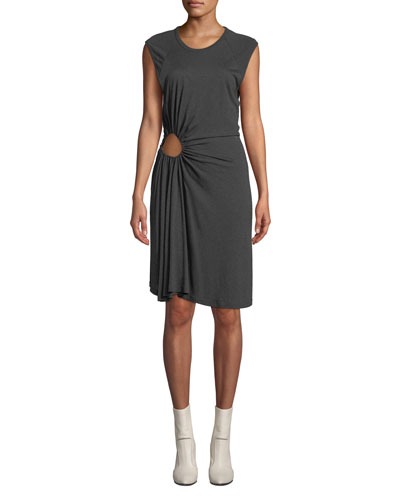 Hartwell Sleeveless Side-Cutout Ruched Dress