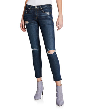 75e44012ad Rag   Bone Mid-Rise Cropped Ankle Skinny Jeans with Holes
