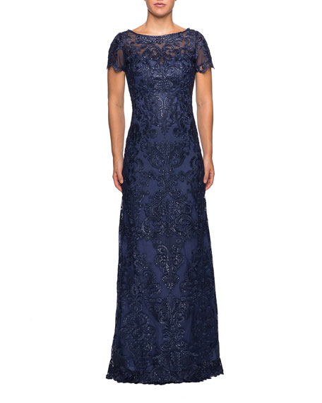 La Femme BOAT-NECK SHORT-SLEEVE EMBROIDERED LACE & SEQUIN A-LINE GOWN