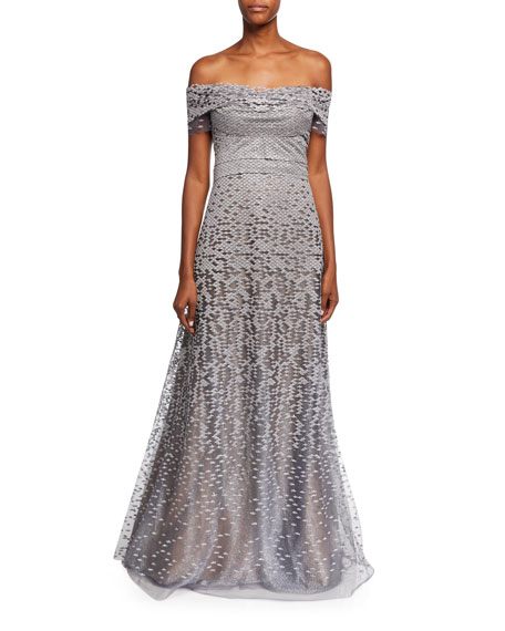 RENE RUIZ Off-The-Shoulder Embellished Tulle Evening Gown in Gray