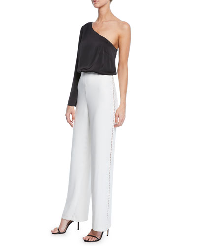 Asymmetric One-Shoulder Two-Tone Jumpsuit w/ Charmeuse Top & Crepe Bottom