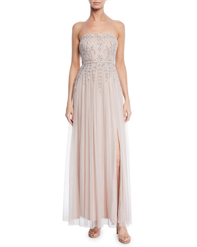 Sleeveless Hand-Beaded Full-Skirt Gown w/ Thigh-Slit
