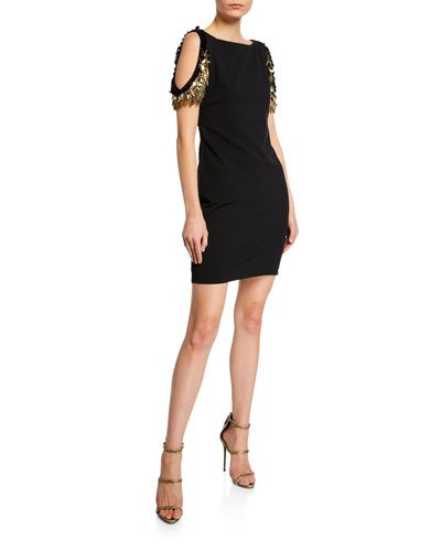 Boat-Neck Cold-Shoulder Sheath Dress w/ Beaded Fringe Sleeves