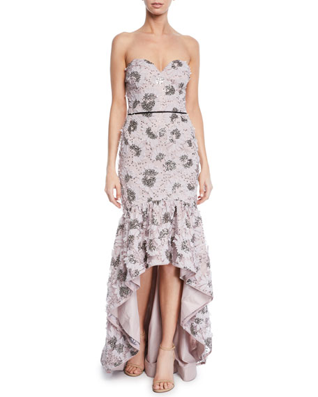 Aidan Mattox Strapless Petal Embroidered High-Low Gown w  e7d9776b2