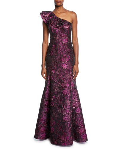 One-Shoulder Metallic Jacquard Trumpet Gown