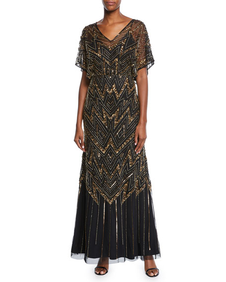 a427c15ef2 Aidan Mattox V-Neck Short-Sleeve Beaded Blouson A-Line Gown