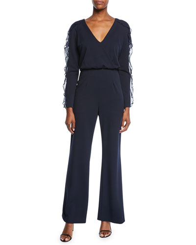 V-Neck Long-Sleeve Crepe Jumpsuit w/ Ruffle Detail