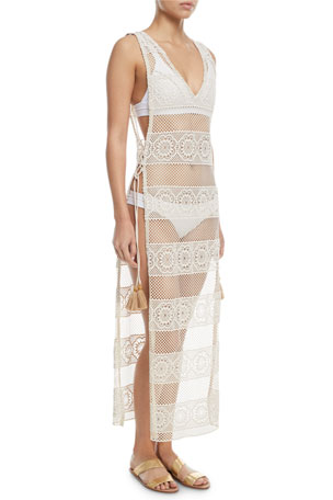 PQ Swim Joy Lace Long Coverup w/ Tie Sides