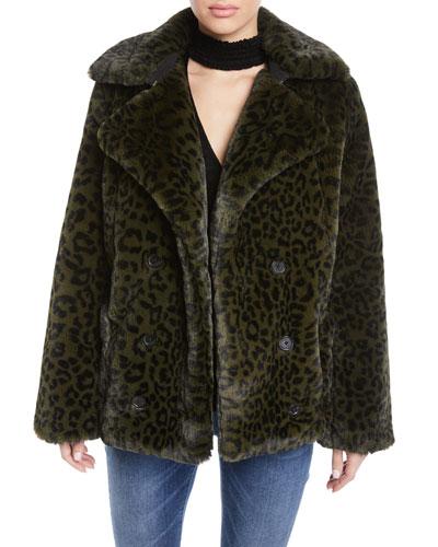 Miles Leopard-Print Faux-Fur Coat