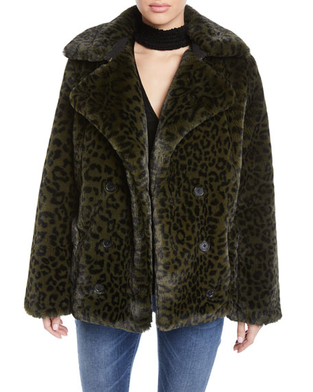 ZADIG&VOLTAIRE Miles Leopard-Print Faux-Fur Coat in Green