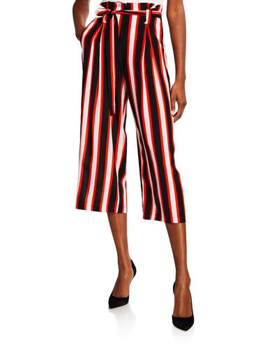 Samira Striped Wide-Leg Cropped Paperbag Pants