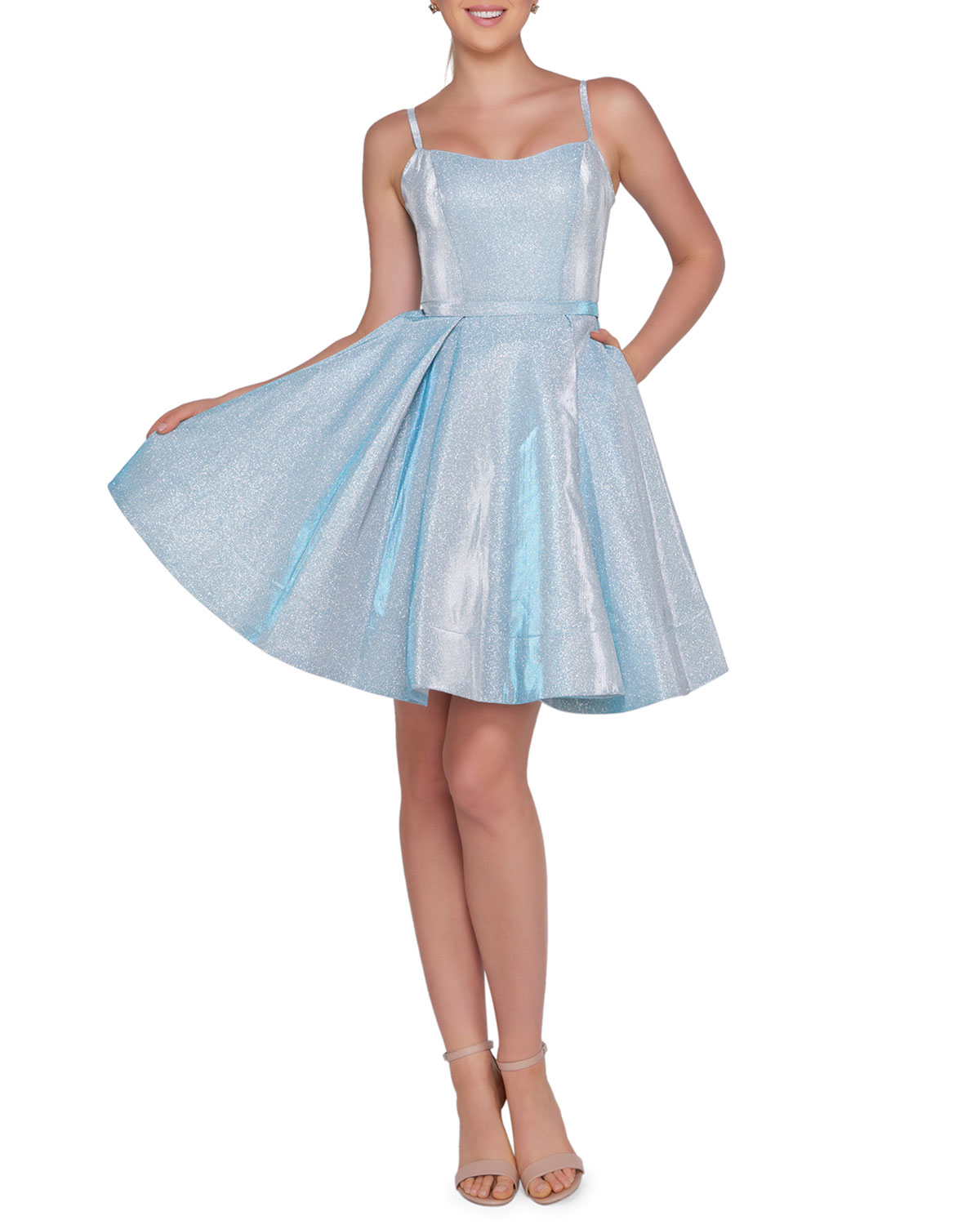 d4ece935c Ieena for Mac Duggal Square-Neck Sleeveless Metallic Fit-and-Flare Dress