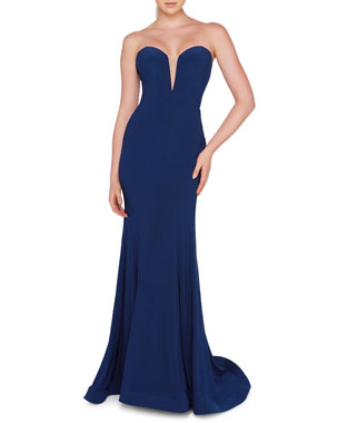 5254c963f96 Ieena for Mac Duggal Sweetheart-Neck Sleeveless Bustier Trumpet Gown