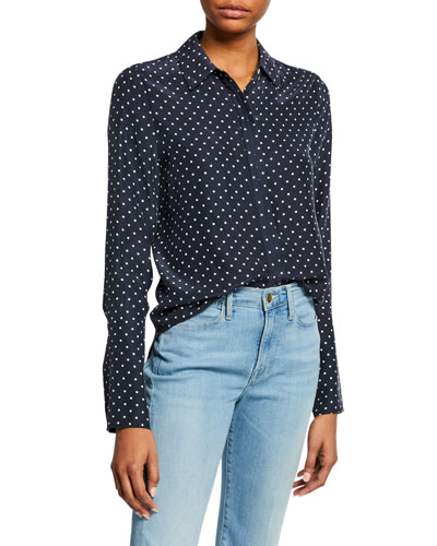 Clean Dot-Print Pajama Button-Front Blouse