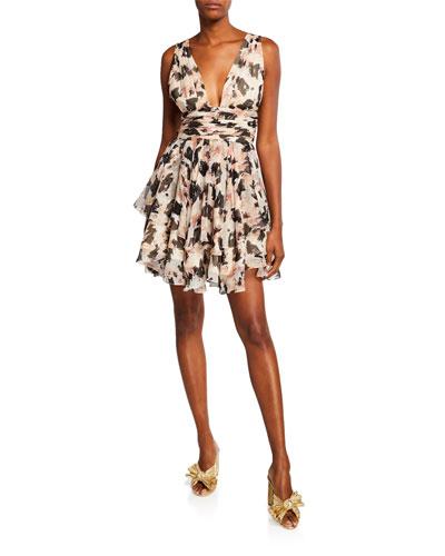 Paros Printed Tiered Plunging Mini Dress