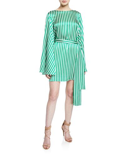 Anya Striped Flare-Sleeve Belted Dress