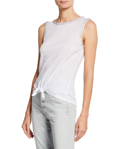 Phoebe Sleeveless Tank with Crystal Detail