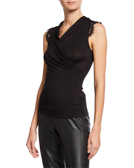 Francesca Sleeveless Wrap Top With Lace Shoulder Detail in Black