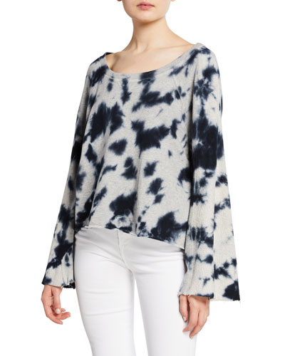 Tie-Dye Flare-Sleeve Cotton Pullover Sweater
