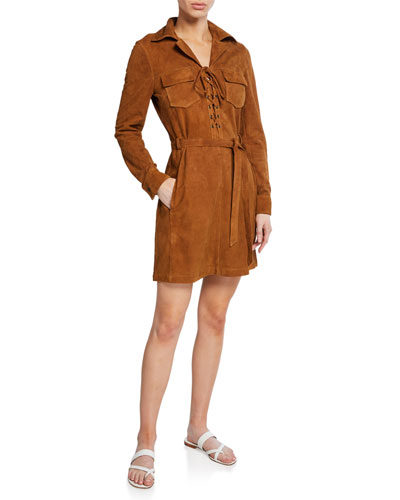 Lace-Up Suede Long-Sleeve Shirtdress