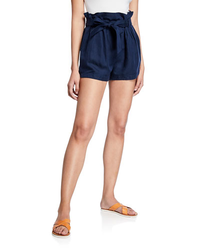 Belted Paperbag Linen-Blend Pocket Shorts