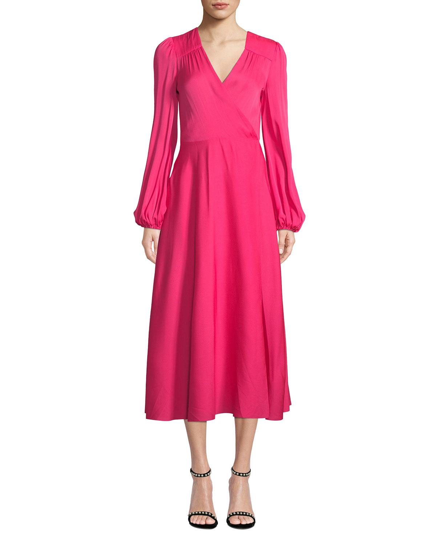36ed87ac38b7 Milly Gina Long-Sleeve Stretch Silk Midi Wrap Dress