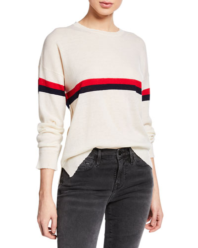 Striped Wool-Cashmere Crewneck Pullover Sweater