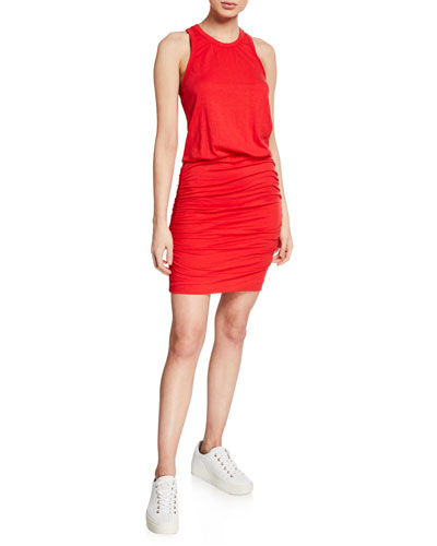 Ruched Racerback Tank Dress