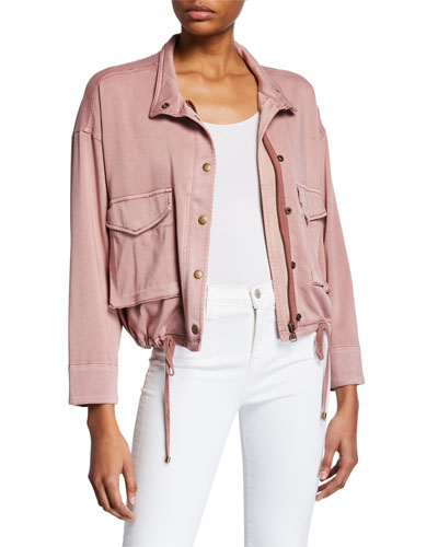 Cropped Sateen Utility Jacket