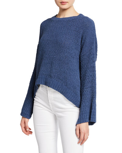 Bowie Bell-Sleeve Chenille Pullover Sweater