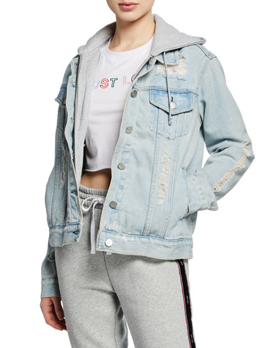 Destructed Hooded Denim Trucker Jacket