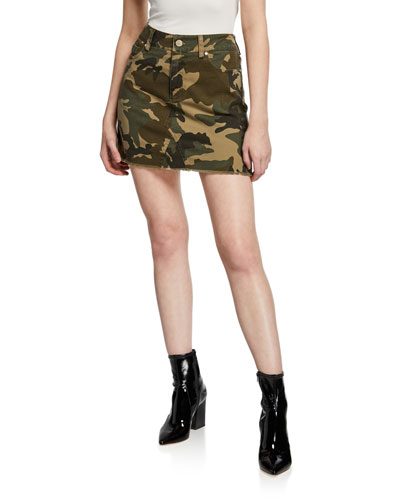 5-Pocket Camo-Print Mini Skirt