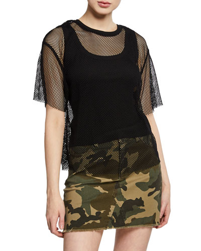 Fishnet Mesh Tee w/ Ribbed Tank