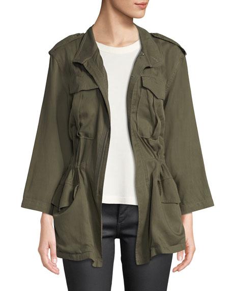 DL PREMIUM DENIM Beekman Zip-Front Utility Jacket in Military Green
