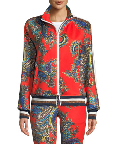 Zip-Front Paisley Track Jacket with Metallic Stripes