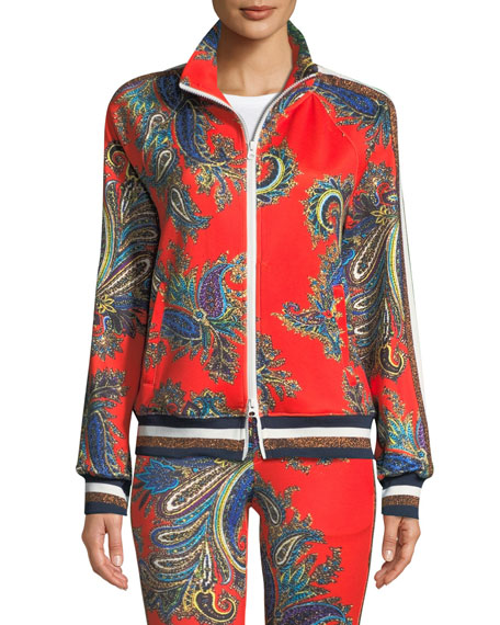 Zip-Front Paisley Track Jacket With Metallic Stripes in Orange Pattern