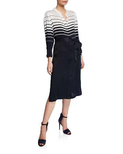 Roseabelle Striped Colorblock Button-Front Long-Sleeve Dress