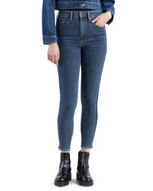 143360030 Levi s Premium Mile High Mid-Rise Skinny Jeans with Side Zippers